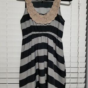 Audrey 3+1 Black and Grey Stripe Tunic Tank Top